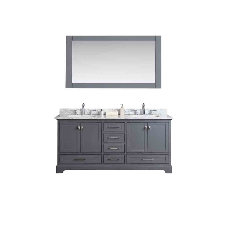 "Stufurhome Newport Grey 72"" Double Sink Bathroom Vanity with Mirror - Grey HD-7130G-72-CR"