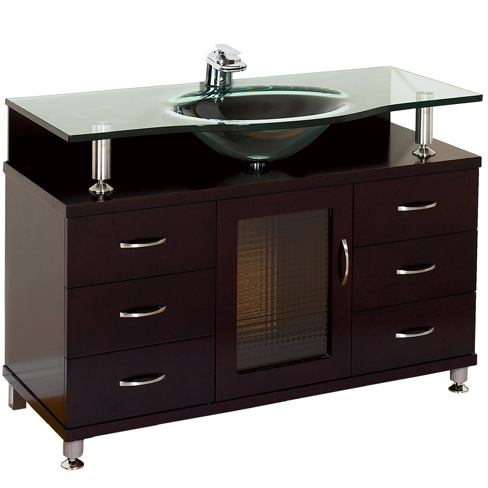 Accara 42 inch Bathroom Vanity with Drawers Espresso w Clear or Frosted Glass Counter