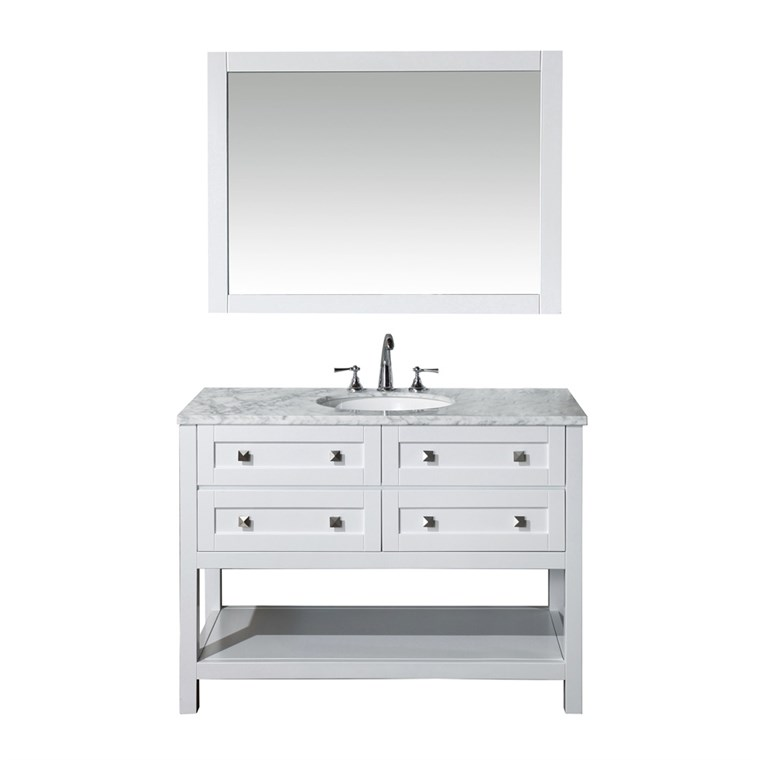 "Stufurhome Marla 48"" Single Sink Bathroom Vanity with Mirror - White HD-6868-48-CR"