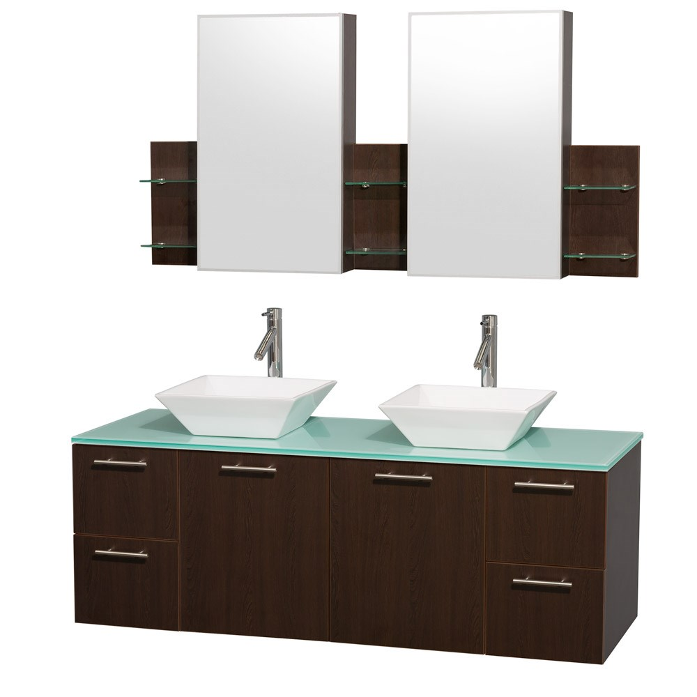 Amare 60 inch Wall Mounted Double Bathroom Vanity Set with Vessel Sinks by Wyndham Collection Espresso