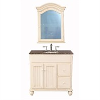 "Stufurhome 36"" Snow White Single Sink Vanity with Baltic Brown Granite Top And Mirror - White GM-6114-36-BB"