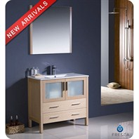 "Fresca Torino 36"" Light Oak Modern Bathroom Vanity with Undermount Sink FVN6236LO-UNS"