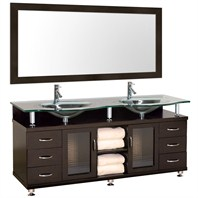 "Accara II 72"" Double Bathroom Vanity - Espresso w/ Clear or Frosted Glass Counter B706T-72-ESP"