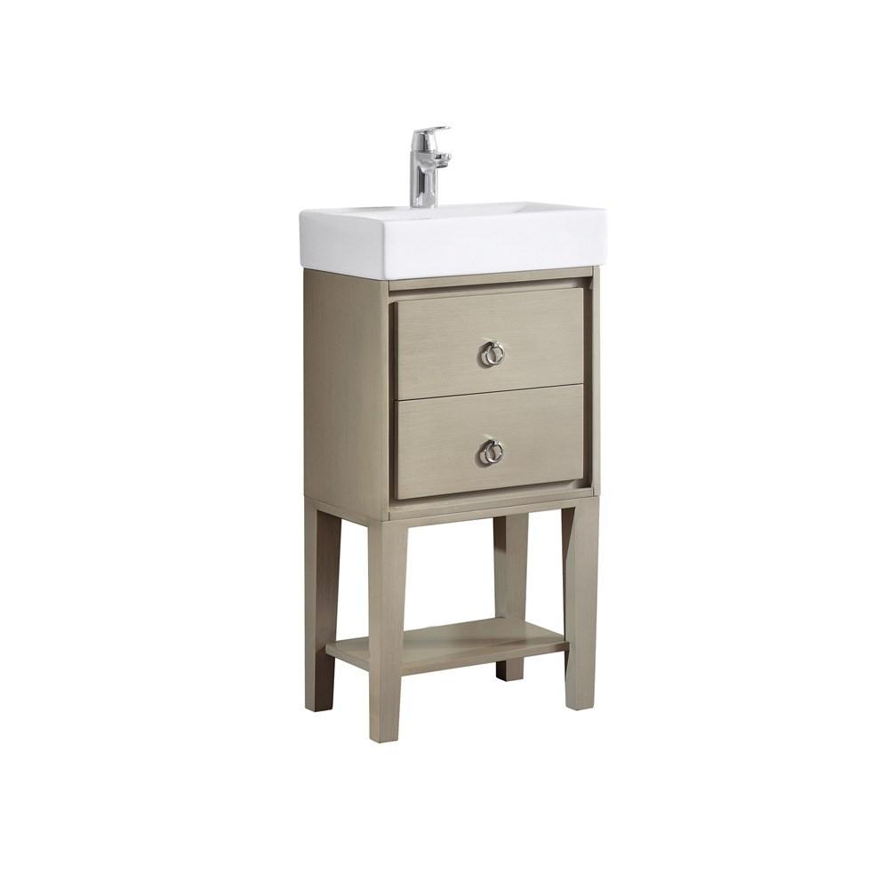 "Avanity Kent 18"" Single Modern Bathroom Vanity with Integrated Vitreous China Top - Taupe Glazenohtin Sale $510.00 SKU: KENT-VS18-TG :"