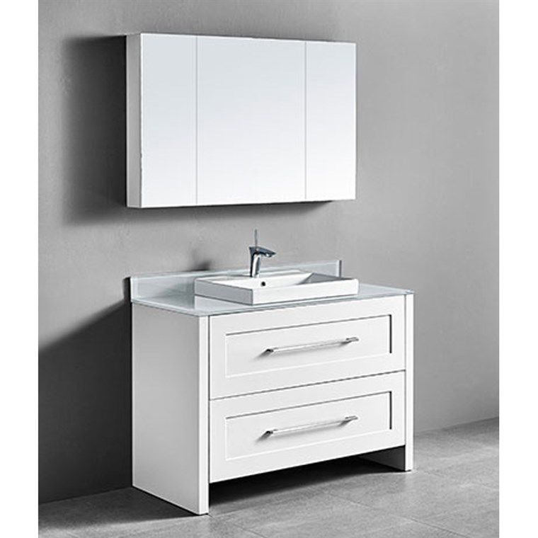 "Madeli Retro 48"" Single Bathroom Vanity for Glass Counter and Porcelain Basin - Matte White B700-48C-001-MW-GLASS"