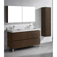 "Madeli Metro 60"" Double Bathroom Vanity for Quartzstone Top - Walnut B600-60D-001-WA-QUARTZ"