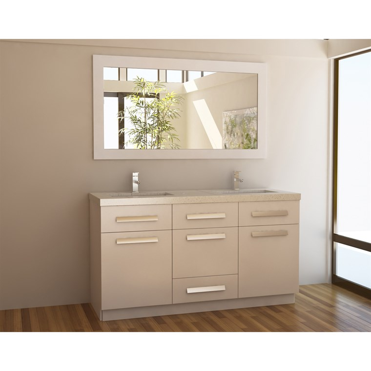 "Design Element Moscony 60"" Double Sink Vanity Set - White J60-DS-W"