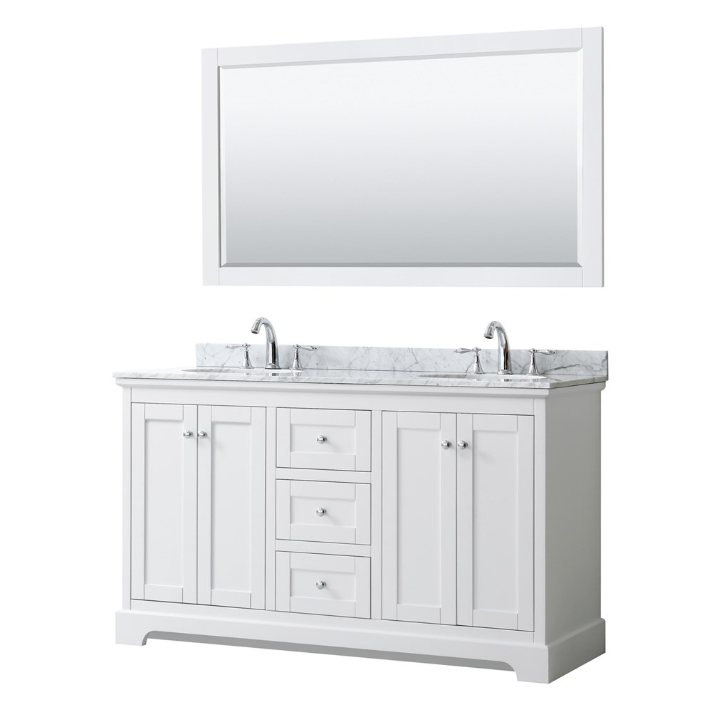 "Daria 60"" Double Bathroom Vanity by Wyndham Collection - White WC-2525-60-DBL-VAN-WHT"