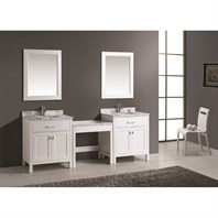 "Design Element London Two 30"" Single Vanities with Make-Up Table - White DEC076E-WX2_MUT-W"