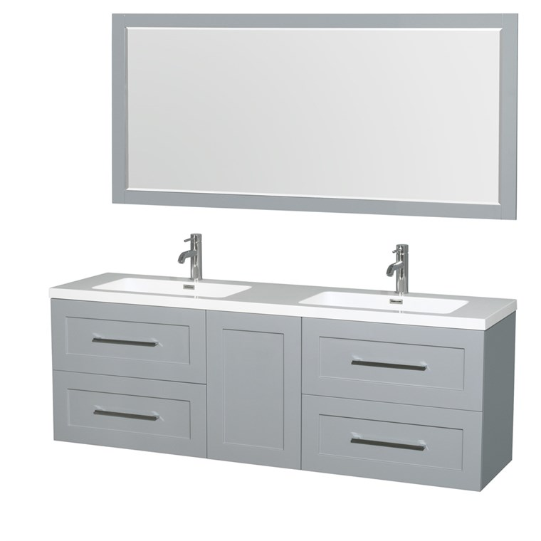 "Olivia 72"" Wall-Mounted Double Bathroom Vanity Set With Integrated Sinks by Wyndham Collection - Dove Gray WC-R4500-72-VAN-DVG"