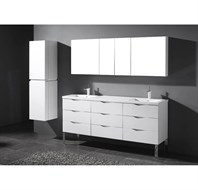 "Madeli Milano 72"" Double Bathroom Vanity for X-Stone Integrated Basins - Glossy White B200-72-002-GW-"