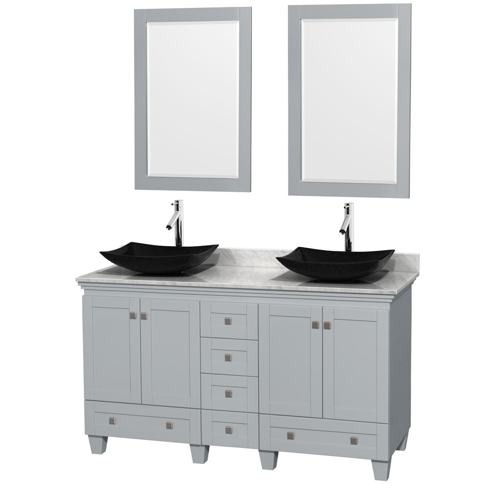 Acclaim 60 inch Double Bathroom Vanity for Vessel Sinks by Wyndham Collection Oyster Gray