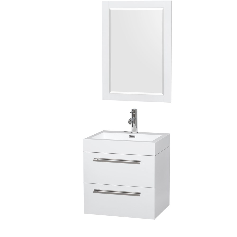 Amare 24 inch Wall Mounted Bathroom Vanity Set with Integrated Sink by Wyndham Collection Glossy White
