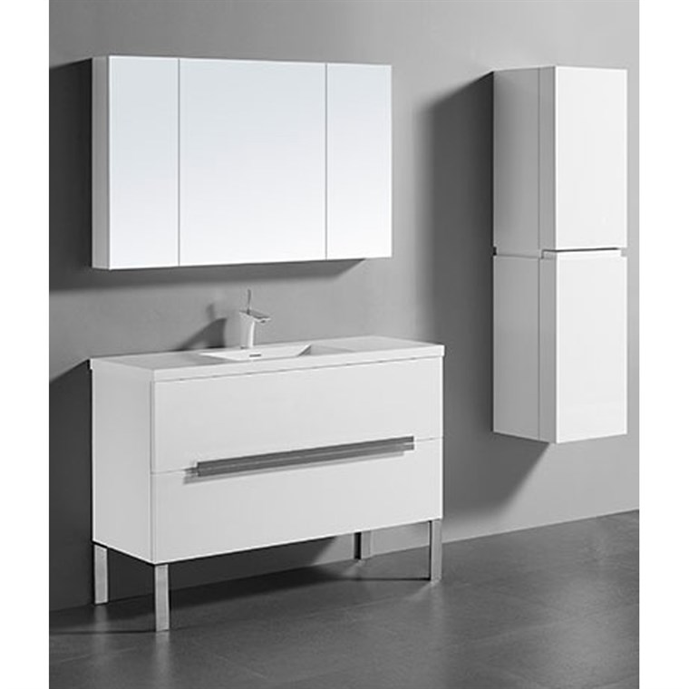 "Madeli Soho 48"" Single Bathroom Vanity for Integrated Basin - Glossy White B400-48C-001-GW"