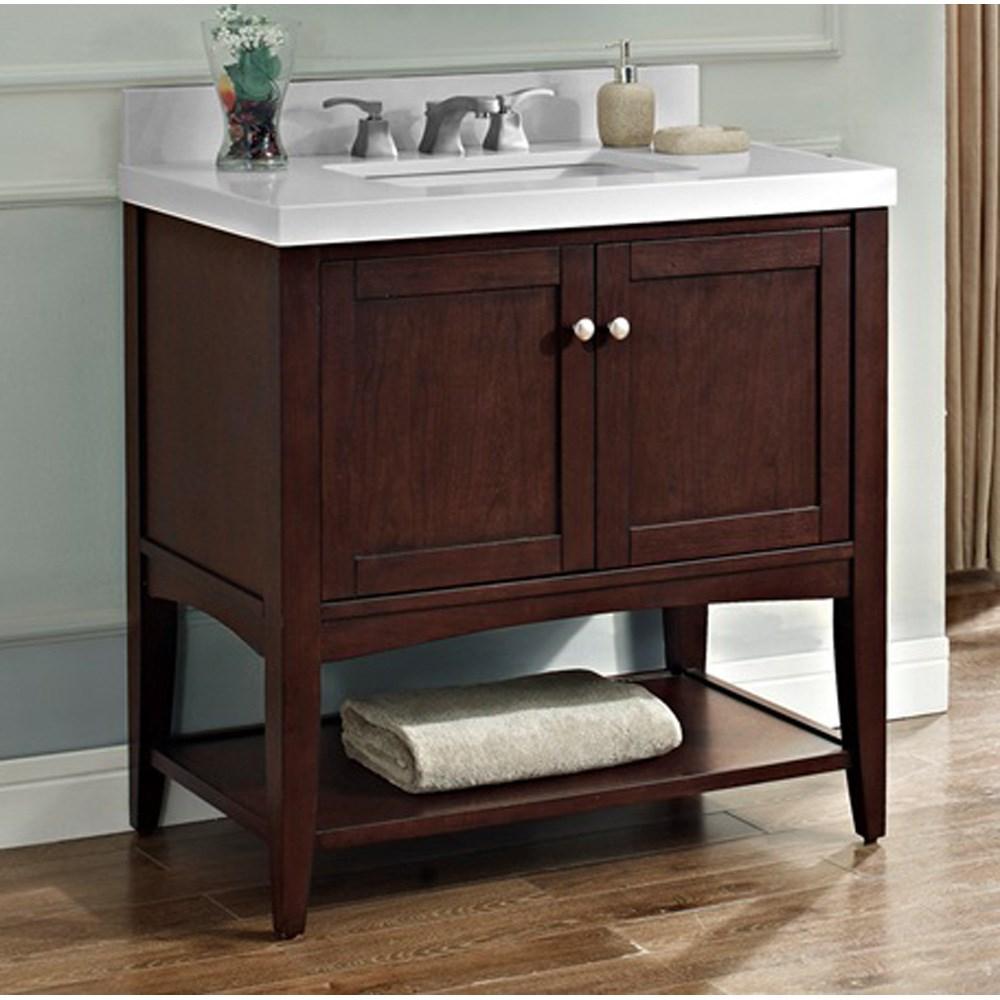 "Fairmont Designs Shaker Americana 36"" Vanity - Open Shelf for Quartz Top - Habana Cherrynohtin Sale $839.00 SKU: 1513-VH36 :"