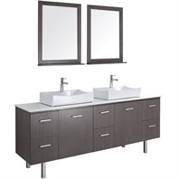 "Millia 75"" Modern Double Bathroom Vanity Set - Grey Oak NE010-75-GROAK-WHT"