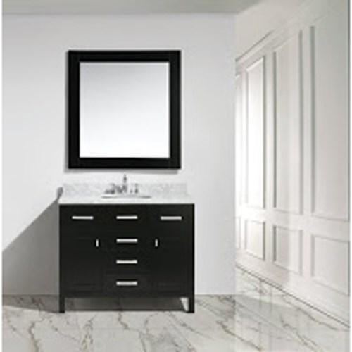 "Design Element London 42"" Bathroom Vanity with White Carrara Marble Countertop, Porcelain Sink and Mirror - Espressonohtin Sale $1199.00 SKU: DEC076F :"