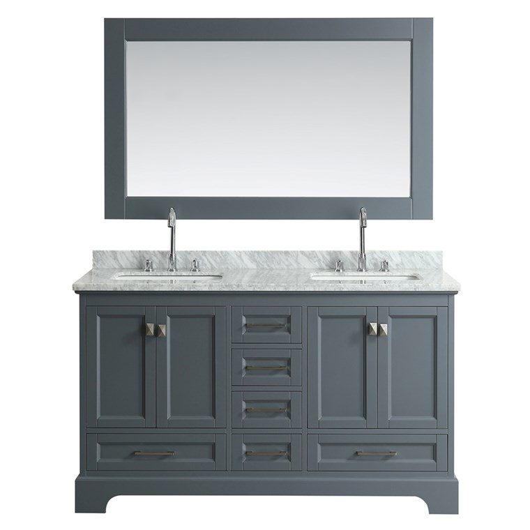"Design Element Omega 61"" Double Sink Vanity - Gray DEC068A-G"