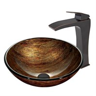 VIGO Amber Sunset Glass Vessel Sink and Blackstonian Faucet Set in Antique Rubbed Bronze Finish VGT390