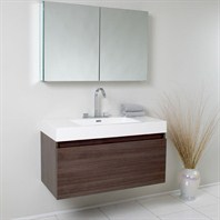 Fresca Mezzo Gray Oak Modern Bathroom Vanity with Medicine Cabinet FVN8010GO