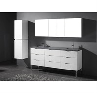 "Madeli Milano 72"" Double Bathroom Vanity for Quartzstone Top - Glossy White B200-72-002-GW-QUARTZ"