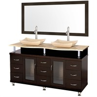 "Accara 60"" Double Bathroom Vanity with Mirror - Espresso w/ Ivory Marble Counter B706D-60-ESP-IVO"