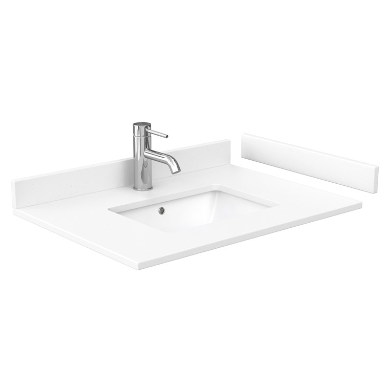 "30"" Single Countertop - White Cultured Marble with Undermount Square Sink - Include Backsplash and Sidesplash WC-VCA-30-SGL-TOP-UMSQ-WHC"