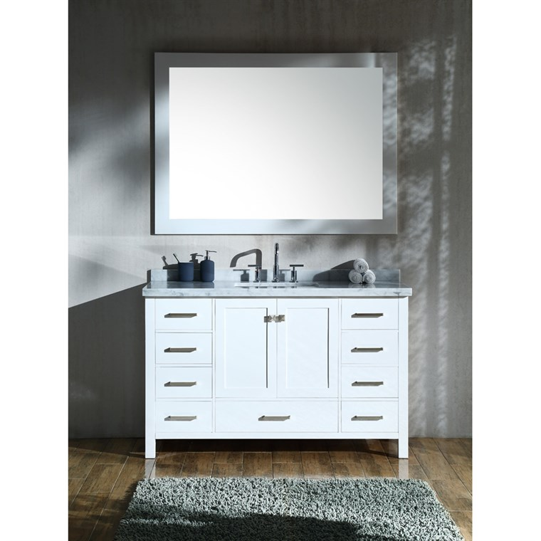 "Ariel Cambridge 55"" Single Sink Vanity Set with Rectangle Sink and Carrara White Marble Countertop - White A055S-CWR-WHT"