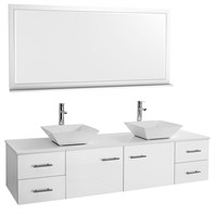 "Bianca 72"" Wall-Mounted Double Bathroom Vanity - White WHE007-72-WHT-"