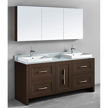 "Madeli Retro 72"" Double Bathroom Vanity for Glass Counter and Porcelain Basin, Walnut B700-72D-001-WA-GLASS by Madeli"