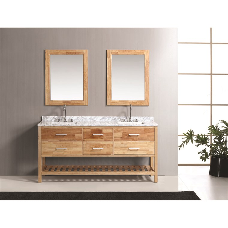 "Design Element London 72"" Double Bathroom Vanity Set with Open Bottom - Oak DEC077B-O"