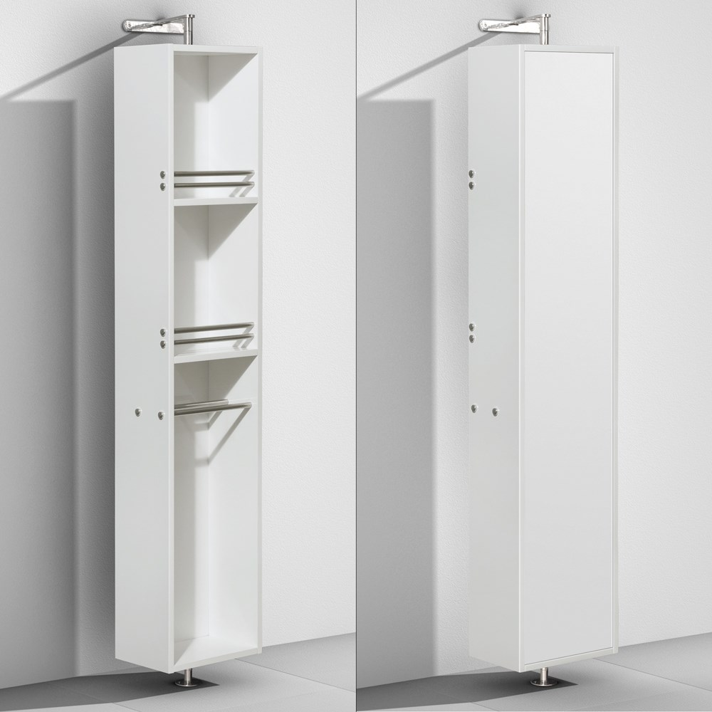 Amare Rotating Floor Cabinet With Mirror By Wyndham Collection - Glossy White