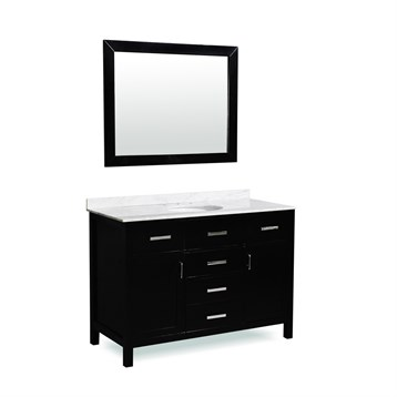 "Belmont decor Hampton 49"" Single Sink Vanity Set with Carrera White Marble Countertop, Espresso SM5D5-48-BLK by Ariel"