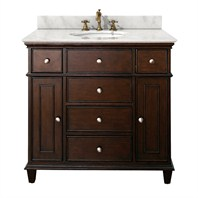 "Avanity Windsor 36"" Vanity with White Carrera Marble Countertop with Sink - Walnut AVA11401-36-WAL-SET-"