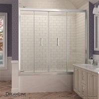 "Bath Authority DreamLine Butterfly Bi-Fold Tub Door (58"" - 58-3/4""), Chrome Finish Hardware SHDR-4558581-01"