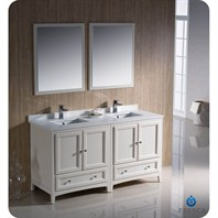 "Fresca Oxford 60"" Traditional Double Sink Bathroom Vanity - Antique White FVN20-3030AW"
