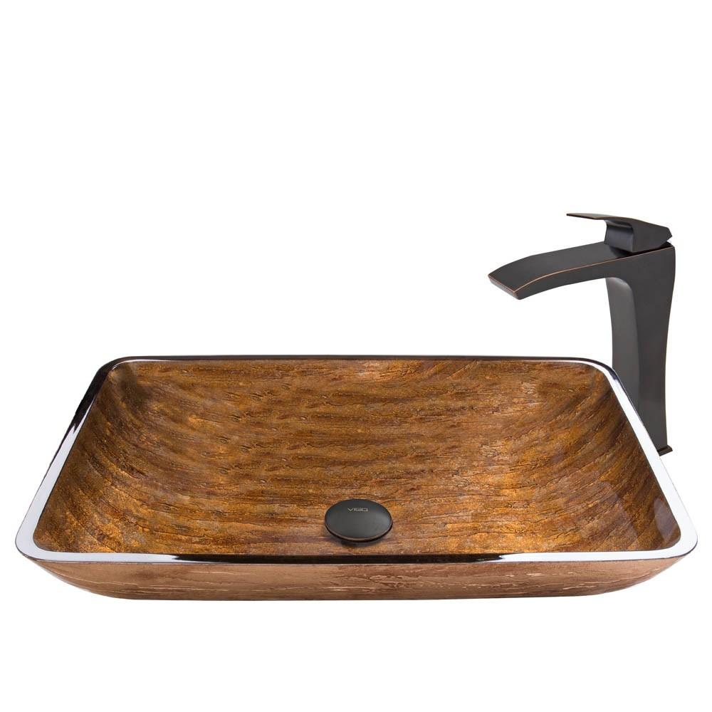 VIGO Rectangular Amber Sunset Glass Vessel Sink and Blackstonian Faucet Set in Antique Rubbed Bronze Finishnohtin Sale $265.90 SKU: VGT487 :