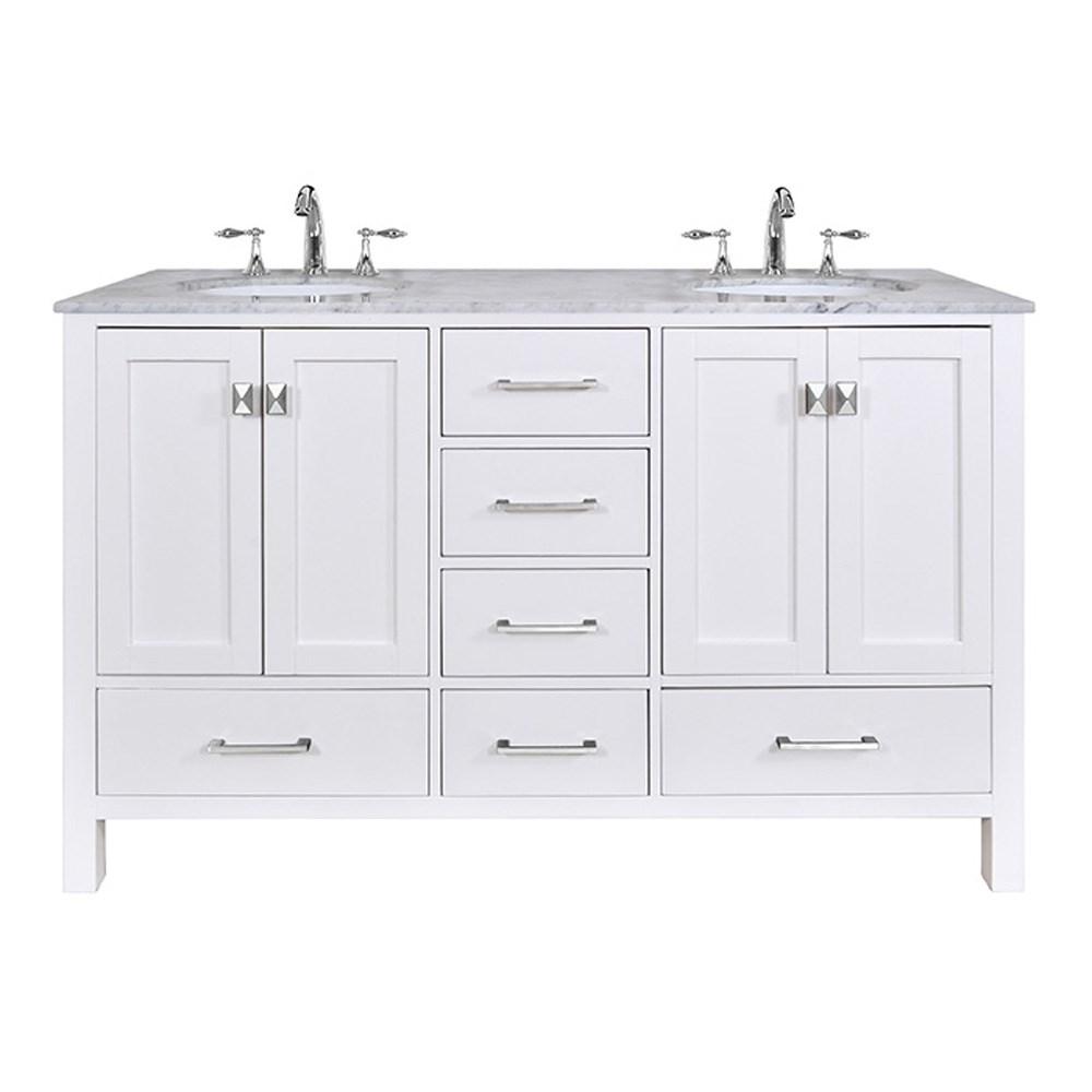 Stufurhome 60 Quot Lissa Double Sink Bathroom Vanity Pure
