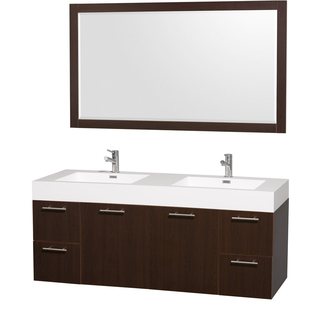 "Amare 60"" Wall-Mounted Double Bathroom Vanity Set with Integrated Sinks by Wyndham Collection - Espressonohtin Sale $1399.00 SKU: WC-R4100-60-VAN-ESP-DBL- :"
