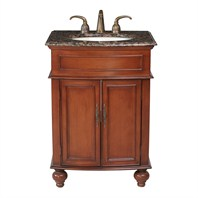 "Stufurhome 26"" Prince Single Sink Vanity with Baltic Brown Granite Top - Cherry Red GM-2333-26-BB"