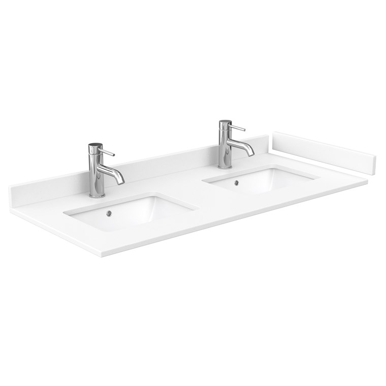 "48"" Double Countertop - White Cultured Marble with Undermount Square Sinks - Include Backsplash and Sidesplash WC-VCA-48-DBL-TOP-UMSQ-WHC"