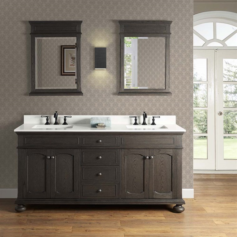 "Fairmont Designs Oakhurst 72"" Double Bowl Vanity - Burnt Chocolate 1536-V7221D"