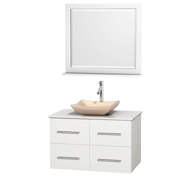 "Centra 36"" Single Bathroom Vanity for Vessel Sink by Wyndham Collection - Matte White WC-WHE009-36-SGL-VAN-WHT_"