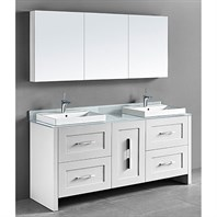 "Madeli Retro 72"" Double Bathroom Vanity for Glass Counter and Porcelain Basin - Matte White B700-72D-001-MW-GLASS"