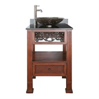 "Avanity Napa 24"" Single Bathroom Vanity with Black Granite Counter - Dark Cherry - Overmount Sink NAPA-VS24-DC-VE"