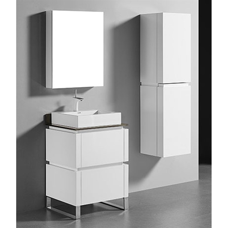 "Madeli Metro 24"" Bathroom Vanity for Glass Counter and Porcelain Basin - Glossy White B600-24-001-GW-GLASS"