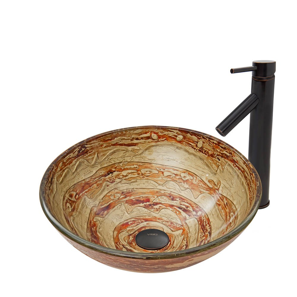 VIGO Mocha Swirl Glass Vessel Sink and Dior Faucet Set in Antique Rubbed Bronze Finishnohtin Sale $235.90 SKU: VGT740 :