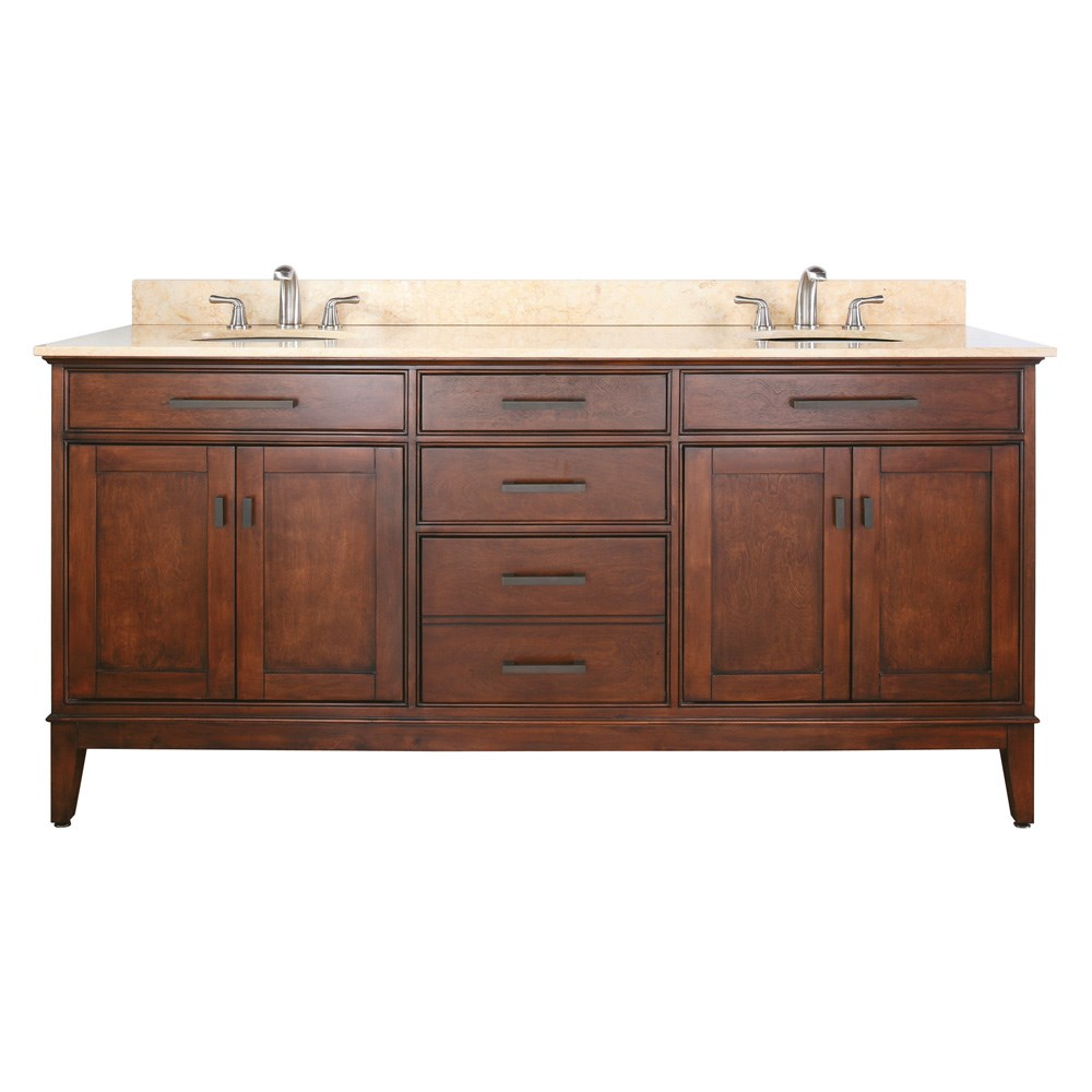 "Avanity Madison 72"" Double Bathroom Vanity - Tobacco"