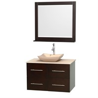 "Centra 36"" Single Bathroom Vanity Set for Vessel Sink by Wyndham Collection - Espresso WC-WHE009-36-SGL-VAN-ESP"