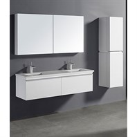 "Madeli Venasca 60"" Double Bathroom Vanity for Quartzstone Top - Glossy White B990-60D-002-GW-QUARTZ"